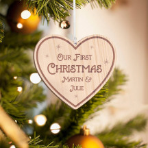 Personalized Wooden Heart-Shaped Merry Christmas Ornament