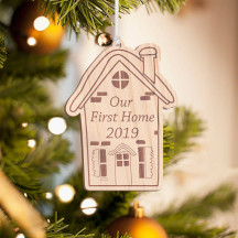 Personalized Wooden House Merry Christmas Ornament