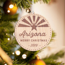 Personalized Round Wooden Arizona Merry Christmas Ornament