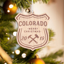 Personalized Wooden Colorado Merry Christmas Ornament