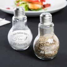 Personalized 4oz Glass Lightbulb Salt and Pepper Shaker Set