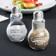 Personalized Valentine's Day 4oz Glass Lightbulb Salt and Pepper Shaker Set