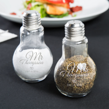 Personalized Wedding 4oz Glass Lightbulb Salt and Pepper Shaker Set