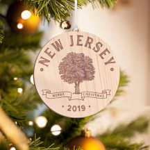 Personalized Round Wooden New Jersey Merry Christmas Ornament