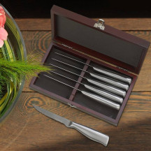 Personalized 6 Piece Steak Knife Set in a Hinged Rosewood Finished Wooden Case