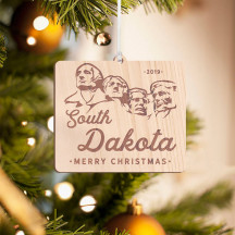 Personalized Square Wooden South Dakota Merry Christmas Ornament