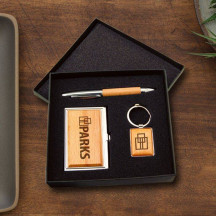 Personalized Business Card Case, Pen and Keychain Beautiful Gift Set