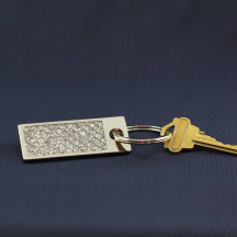 Glitter Galore Rectangle Key Chain with Custom Name Message Engraved