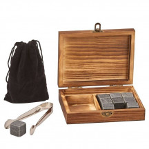 Personalized Wooden Whiskey Stone Box with Tongs, 9 Whiskey Stones and Pouch