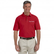 Design Your Own Red Harriton Men's 6 oz. Ringspun Cotton Pique Short-Sleeve Polo