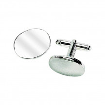 Personalized Pair of Oval Silver Cufflinks