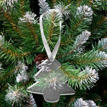 Personalized Tree Shaped Glass Ornament with White Ribbon