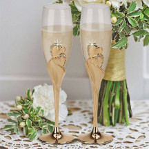 "Personalized ""Forever"" Glass Gold Flutes"