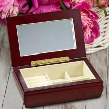 Personalized Rosewood Finish Rectangular Wood Hinged Jewelry Box
