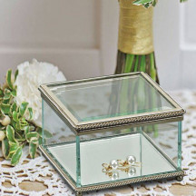 Personalized Square Keepsake Glass Display Box with Hinged Cover