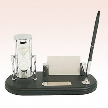 Luxurious & Elegant Pen Stand with 3 Minute Sand Timer & Card Holder