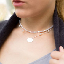 Personalized ID Tag Necklace with White Cultured Freshwater Pearls