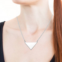 Personalized Elegant Sterling Silver Engravable Triangle Necklace