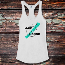 Personalized Maid of Honor Shirttail Satin Jersey Tank