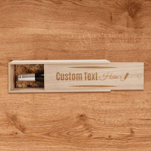 Personalized Single Bottle Wooden Wine Box