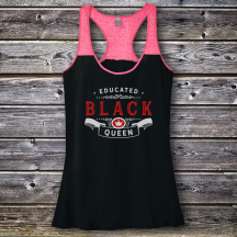 Personalized Educated Black Queen Graduation Varsity Tank