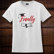 Personalized Finally Graduation Ladies Nano-T Cotton T-Shirt, Hanes