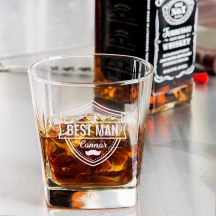 Personalized Bestman Libbey Double Rocks, Whisky Old Fashioned Glass