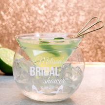 Personalized Bridal Shower Libbey Martini Chiller Set