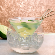 Personalized Christmas Libbey Martini Chiller Set