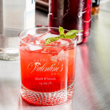 Personalized Valentine's Day Libbey Rocks / Old Fashioned Glass with Dimpled Base