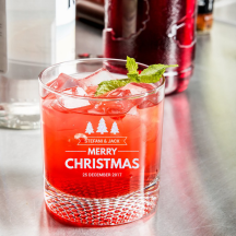 Personalized Christmas Libbey Rocks / Old Fashioned Glass with Dimpled Base