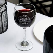 Personalized Christmas Core Balloon Wine Glass