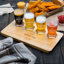 Personalized Valentine's Day 4 Core Beer Flight Pub Taster Glasses Wood Sampler Tray