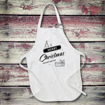 Personalized Merry Christmas & Happy New Year Full Length Apron with Pockets
