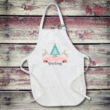 Personalized Christmas Greetings Full Length Apron with Pockets