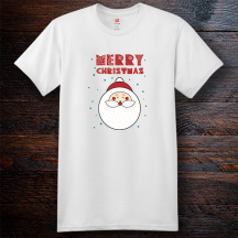 Personalized Merry Christmas Cotton T-Shirt, Hanes