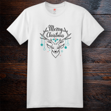 Personalized Merry Christmas Holiday Cotton T-Shirt, Hanes