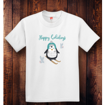 Personalized Happy Holidays Youth Tagless, 100% Cotton T-Shirt,  Hanes