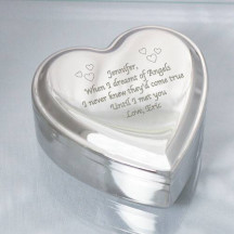 Personalized Nickel Heart Jewelry Box with Custom Special Message Engraved