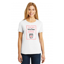 Personalized I Love You More Than Coffee, Ladies Cotton T-Shirt, Hanes