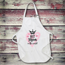Personalized Best Mom In The World Full Length Apron with Pockets