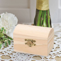 Personalized Elegant Unfinished Wood Chest, Hinged with Clasp
