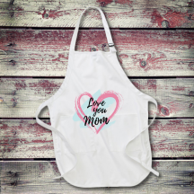 Personalized Love You Mom Full Length Apron with Pockets