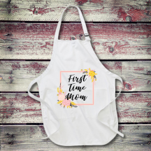 Personalized First Time Mom Full Length Apron with Pockets