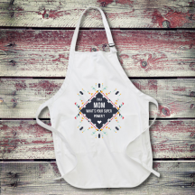 Personalized Mom Super Power Full Length Apron with Pockets