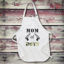 Personalized Mom Of Boys Full Length Apron with Pockets