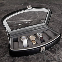 Personalized Stylish And Beautiful Black Leather Watch Storage Case