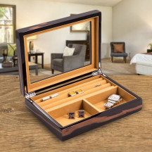 Personalized Ebony Lacquered Burl Wood Valet Box