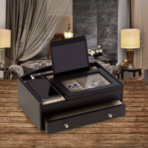 Personalized Matte Black Wood Valet Box