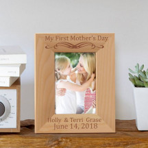 "My First Mother's Day Personalized Wooden Picture Frame 3 1/2"" x 5"" Finished"